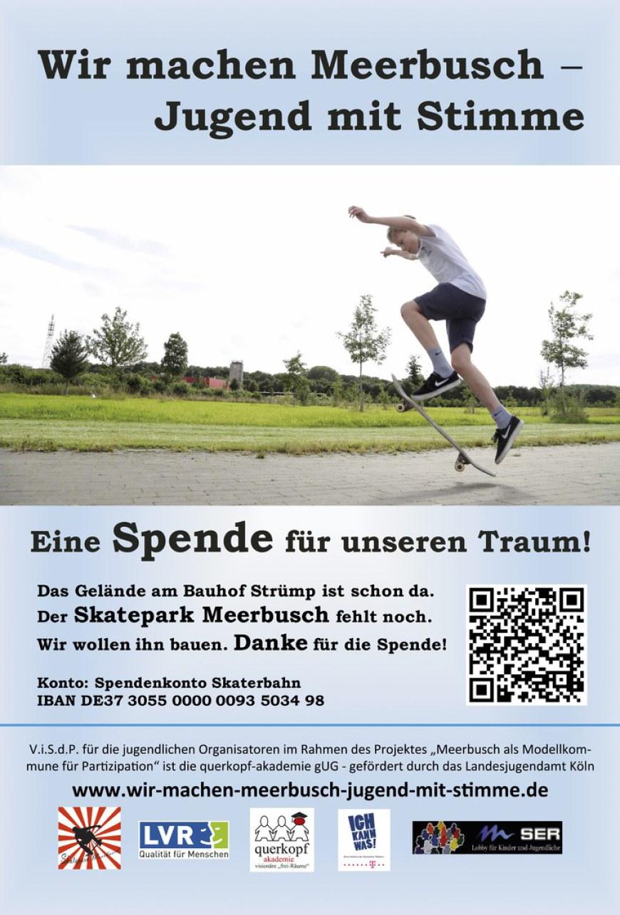 Werbeplakat für den Skatepark Meerbusch